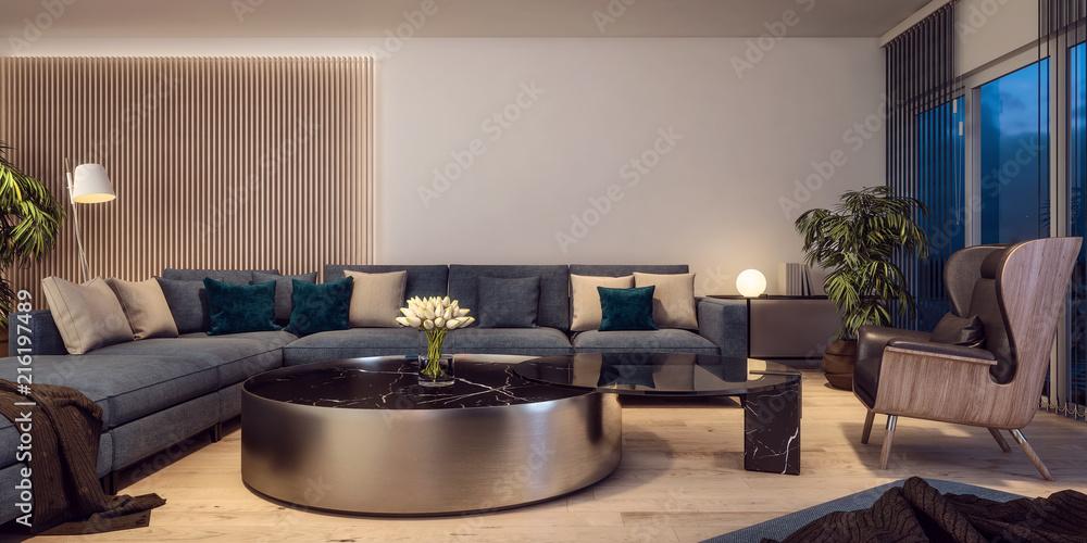 Modern interior design of Italian style living room ...