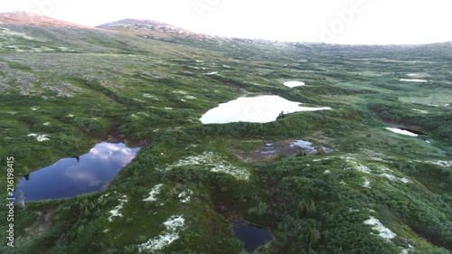Foto op Aluminium Khaki Aerial Tundra Mountain Landscape in the Mountains Hills on the Kola Peninsula in the North of Russia near the Town of Kandalaksha. the place is called the Tundra Luvenga Mountains