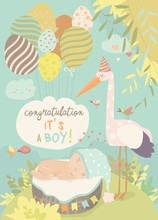 Nice Card With Stork And Baby