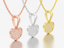 3D Illustration Three Red Rose Yellow White Gold Or Silver Diamond Heart Necklace On Chain