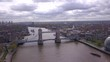 Aerial View of Tower Bridge in Central London at Cloudy Day, UK, View from Above on Business Center of London