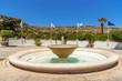 Circular water fountain in front of Kallthea Terms on Rhodes island. Greece