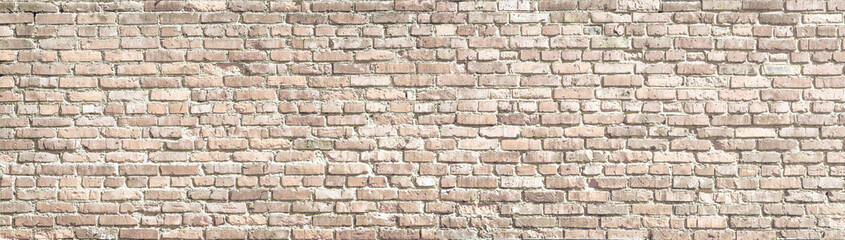 FototapetaWhite wash old brick wall panorama.