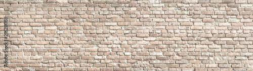 Photo sur Toile Brick wall White wash old brick wall panorama.