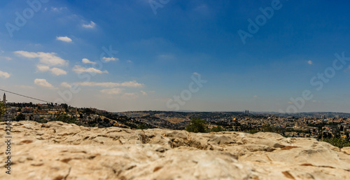 Photo Golden Dome of the Rock and church steeples on the skyline of the Old City of Jerusalem