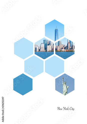 Fotobehang Amerikaanse Plekken Hexagon shapes with New York City images. Geometric background
