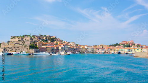 Foto op Plexiglas Palermo Portoferraio medieval town and harbour viewed from the sea, Elba island, Tuscany, Italy