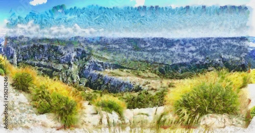 Foto op Aluminium Pool Hand drawing watercolor art on canvas. Artistic big print. Original modern painting. Acrylic dry brush background. Charming view of the riddles of nature. Beautiful mountain landscape.