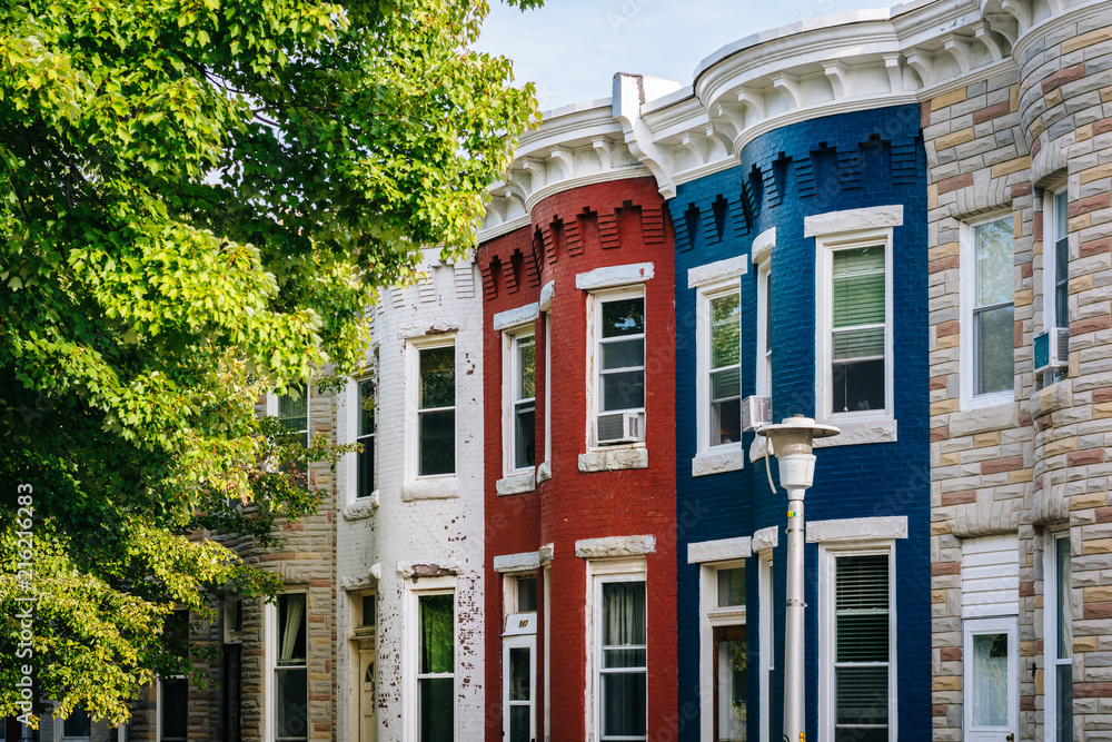 Fototapety, obrazy: Colorful row houses in Hampden, Baltimore, Maryland