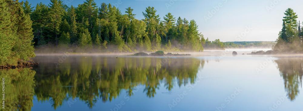 morning mist, cresent lake, mn, panorama