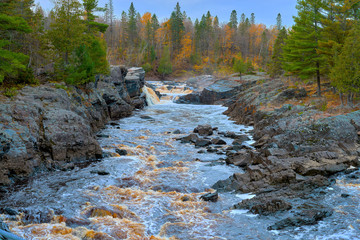 st. louis river, rapids, mn, autumn