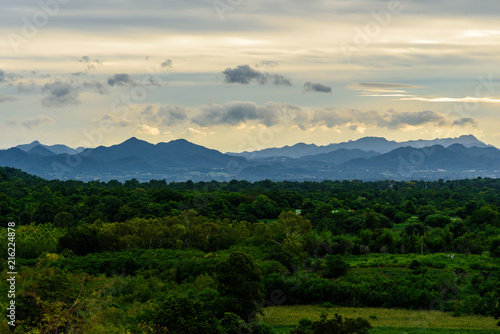 Foto op Canvas Beige Landscape of cloudy, mountain and forest with sunset in the evening from top view.
