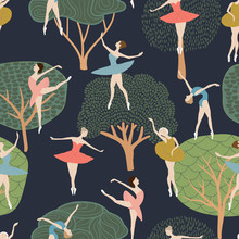 Seamless Pattern Of Ballet Dancers In Different Poses. On The Background Of Trees