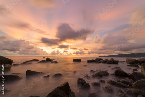 Photographie  landscape long exposure Sunset beach and sea rock