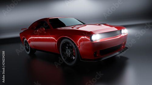 Side angle view of a generic red brandless American muscle car on a grey background . Transportation concept . 3d illustration and 3d render.