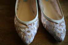 Bride's White Lace Wedding Shoes - Pointed Toe Ballet Flats