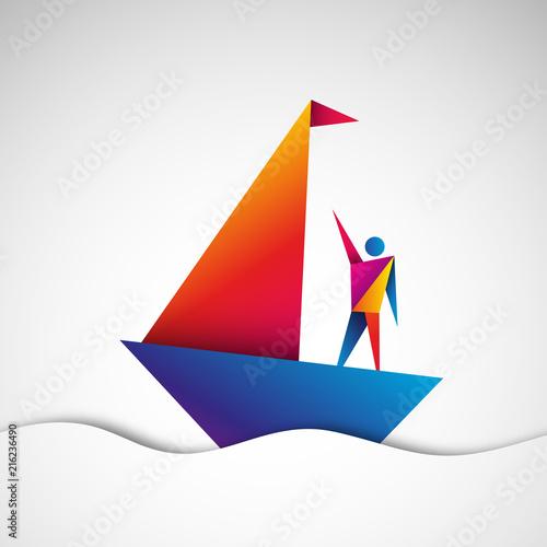 Photo  żaglówka origami wektor