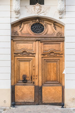 Paris, Old Wooden Door On The Ile De La Cite, Beautiful Entry Porch