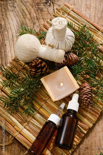 Foto op Aluminium Spa Composition of bath spa treatment on straw mat ,board