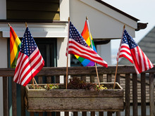 American Flags And Gay Pride F...