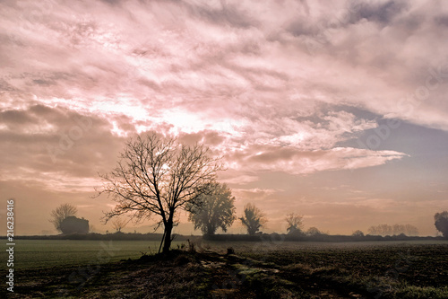 Poster Lichtroze colorful countryside landscape sunset in bad weather