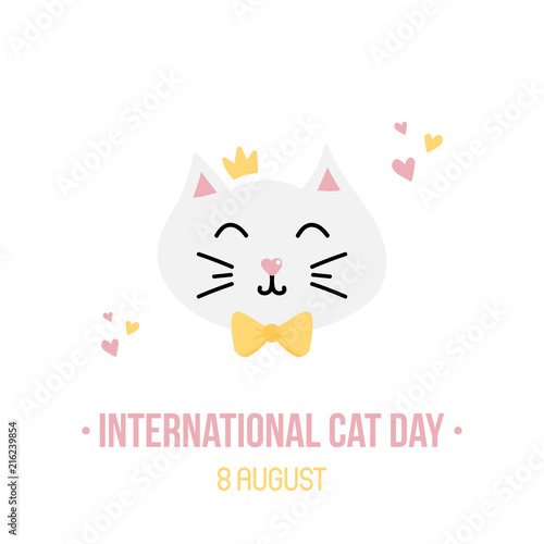 International Cat Day Vector Card Illustration With Cute Cartoon Style Cat In Crown And Bow Buy This Stock Vector And Explore Similar Vectors At Adobe Stock Adobe Stock