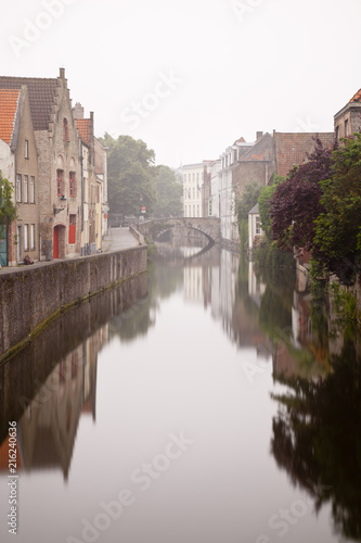 Staande foto Rotterdam Bruges Canal On Misty Day
