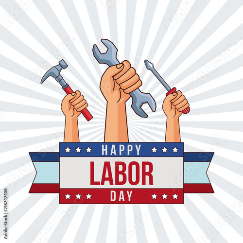 Labor Day Card With Hands Holding Construction Tools Cartoons Vector