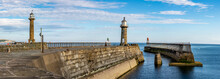 Panoramic Image Of Whitby Harbour Entrance - North Yorkshire, England