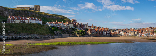 Poster Northern Europe Panoramic image of Whitby across tate hill sands, North Yorkshire, England.