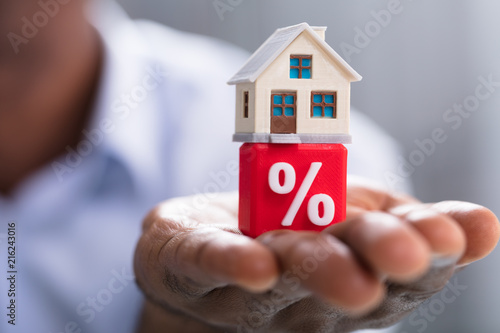 Miniature House On Percentage Block Over The Hand Canvas Print