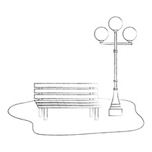 Bench And Lamppost Park Decora...
