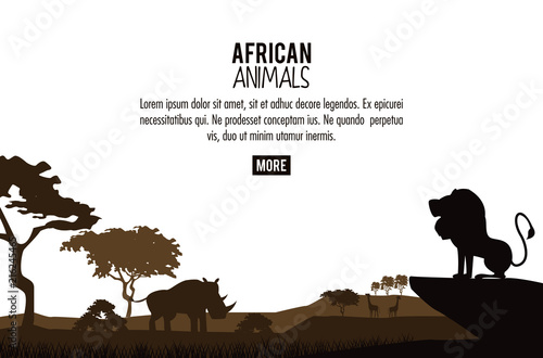 African animals silhouettes poster with information vector illustration graphic design © Jemastock