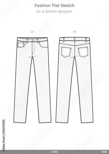 pants jeans fashion flat sketches technical drawings teck pack illustrator vector template buy. Black Bedroom Furniture Sets. Home Design Ideas