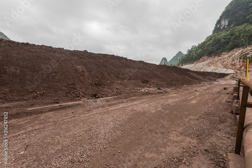 Foto op Plexiglas Cappuccino gravel road and mound in mining area