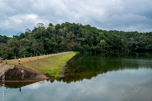 Fotografie, Obraz  The Dam in the valley with walkway for camping, Pang-Ung Lake in the North (Mae