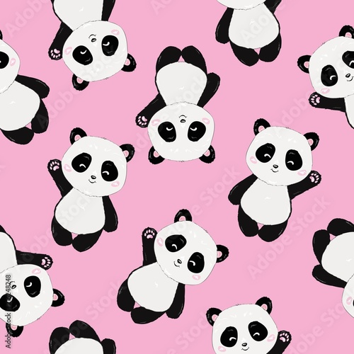 Seamless Cute Cartoon Panda Pattern Lerretsbilde