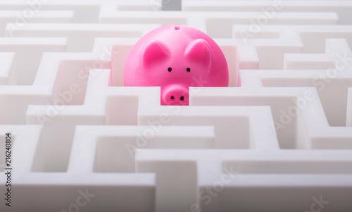 Fotografía  Pink Piggybank In The Centre Of Maze