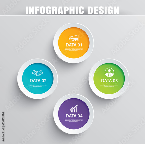 Photographie Infographics circle paper with 4 data template