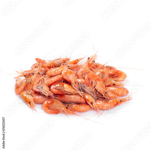 Fotobehang Schaaldieren Red cooked prawn or shrimp isolated on white background.