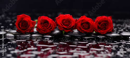 Still life with row of five red rose and wet stones