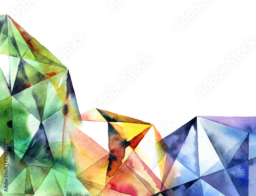 Valokuva  Watercolor geometry background