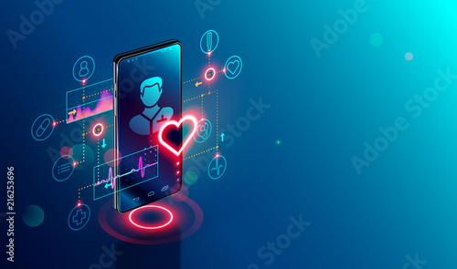 Online tele medicine isometric concept. Medical consultation and treatment via application of smartphone connected internet clinic.