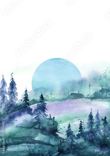 Foto auf Gartenposter Blau Jeans watercolor Silhouettes the village. Watercolor logo, postcard. Watercolor blue, green background, blot, blob, splash of blue, paint. Watercolor spot, abstraction. The blue moon,spruce, pine, forest.