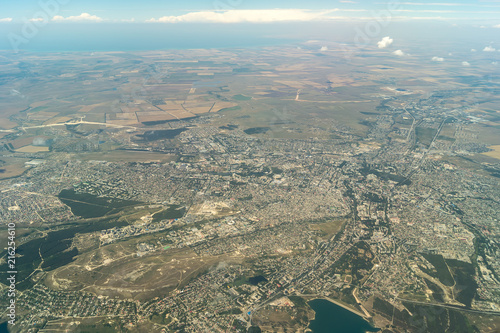 Foto op Aluminium Luchtfoto View from the plane to Simferopol, Crimea
