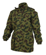 Multi Pocket Camouflage Quiled Coat With Hoad Isolated On White