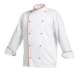 White chef cook's jacket with orange edges, isolated over white background