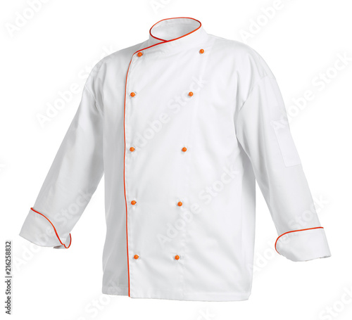 Leinwand Poster White chef cook's jacket with orange edges, isolated over white background