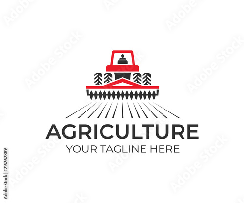 Agriculture and farming with tractor with cultivator and plow, logo design. Agribusiness, eco farm and rural country, vector design. Farm industries and agronomy, illustration