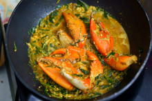 Crab Cook In Curry Fried In Pan In Kitchen